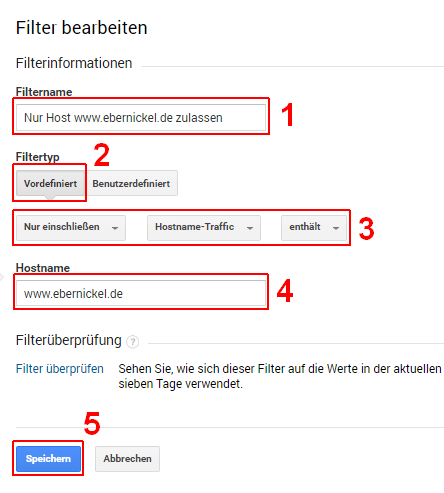 Google Analytics, Hostname filtern, 02