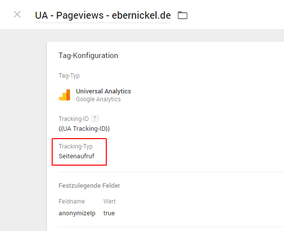 Google Tag Manager, Pageview Tag erweitern, 02
