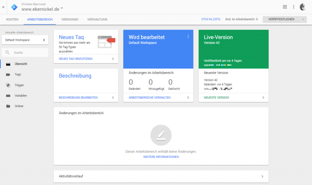 Arbeitsbereich des Google Tag Managers